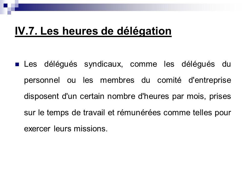 IV.7. Les heures de délégation Les délégués syndicaux, comme les délégués du personnel ou les membres du comité d'entreprise disposent d'un certain no