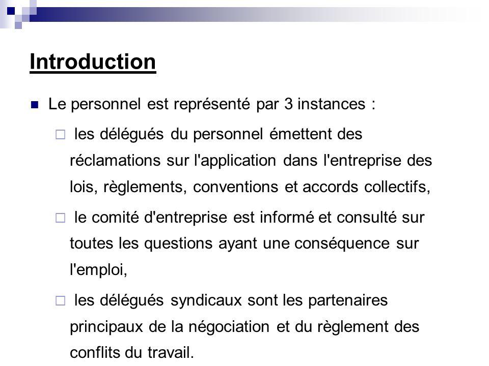Introduction Le personnel est représenté par 3 instances : les délégués du personnel émettent des réclamations sur l'application dans l'entreprise des