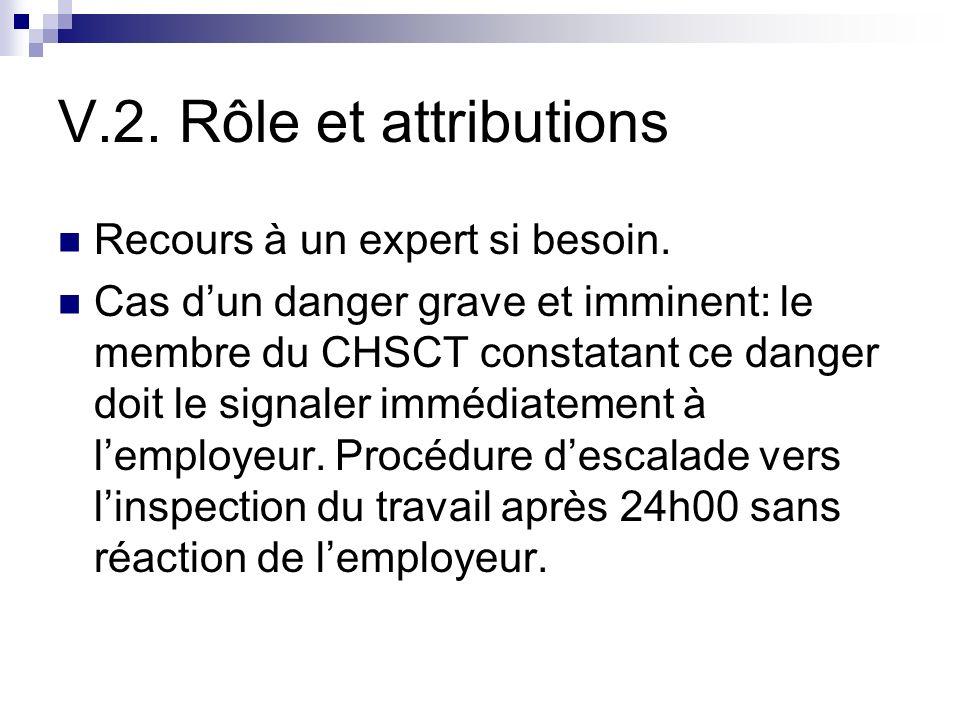 V.2. Rôle et attributions Recours à un expert si besoin. Cas dun danger grave et imminent: le membre du CHSCT constatant ce danger doit le signaler im