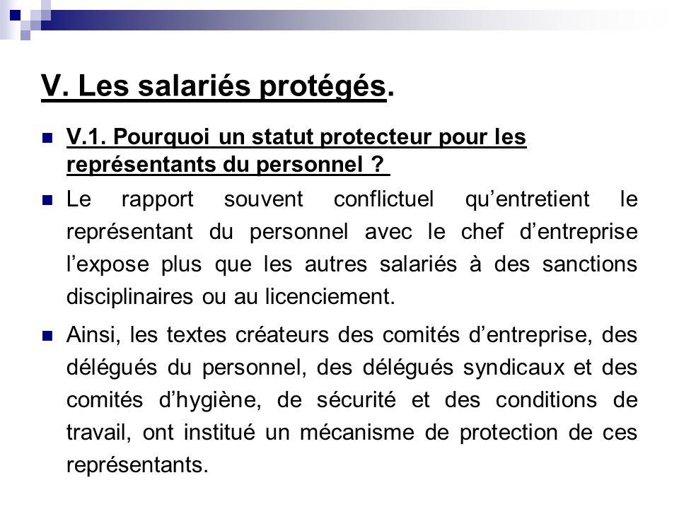 V. Les salariés protégés. V.1. Pourquoi un statut protecteur pour les représentants du personnel ? Le rapport souvent conflictuel quentretient le repr