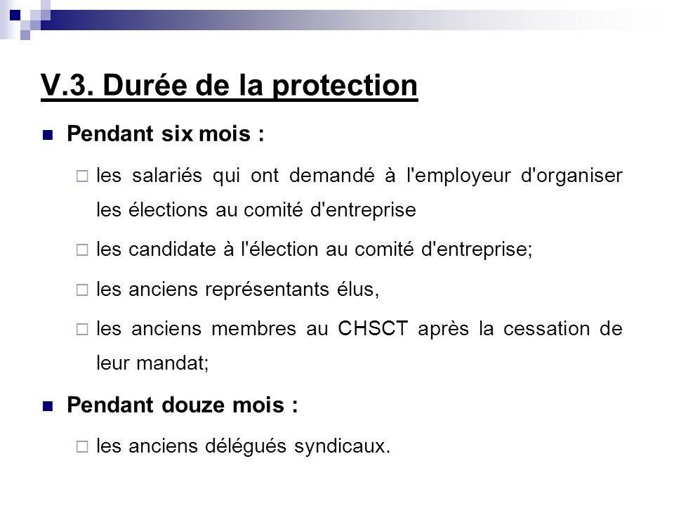 V.3. Durée de la protection Pendant six mois : les salariés qui ont demandé à l'employeur d'organiser les élections au comité d'entreprise les candida