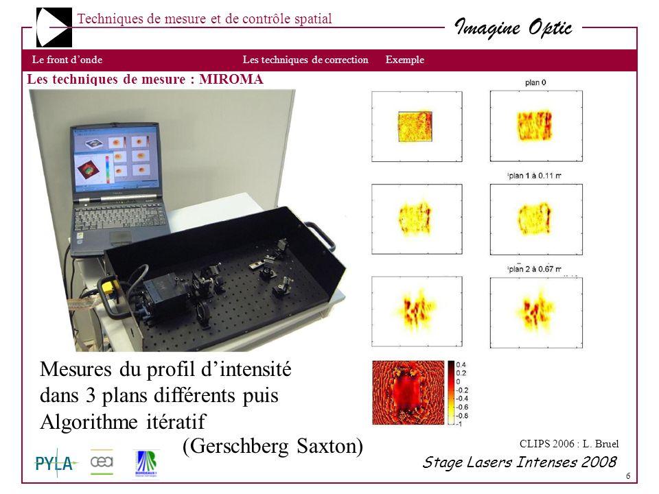 6 Imagine Optic Techniques de mesure et de contrôle spatial Les techniques de mesuresLe front dondeLes techniques de correctionExemple Stage Lasers In