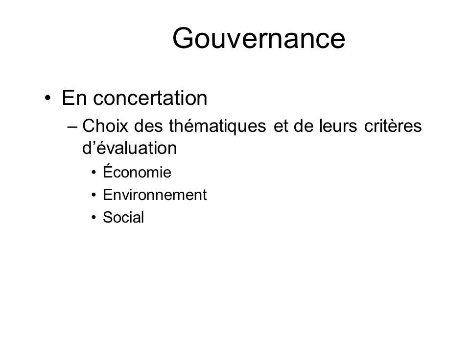 Gouvernance En concertation –Choix des thématiques et de leurs critères dévaluation Économie Environnement Social
