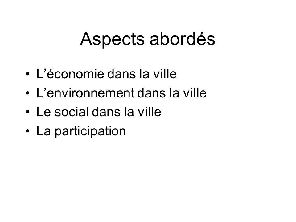 Aspects abordés Léconomie dans la ville Lenvironnement dans la ville Le social dans la ville La participation