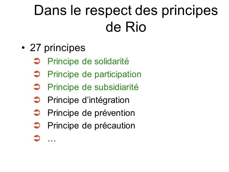 Dans le respect des principes de Rio 27 principes Principe de solidarité Principe de participation Principe de subsidiarité Principe dintégration Principe de prévention Principe de précaution …