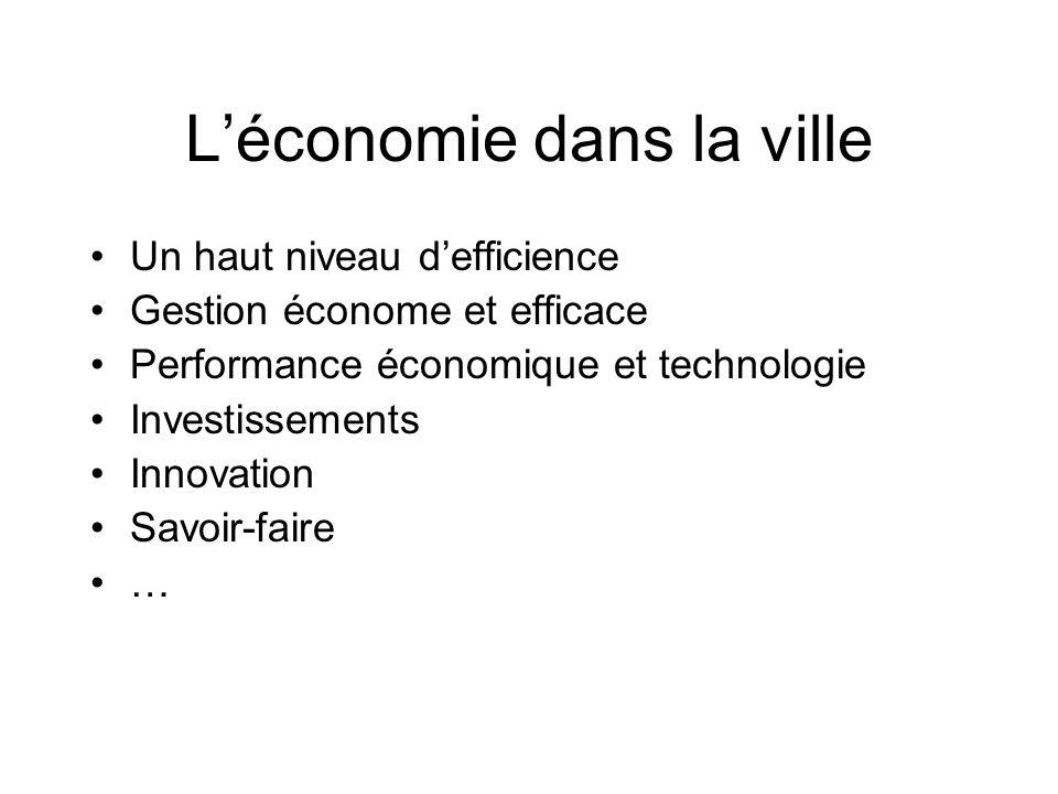 Un haut niveau defficience Gestion économe et efficace Performance économique et technologie Investissements Innovation Savoir-faire … Léconomie dans la ville