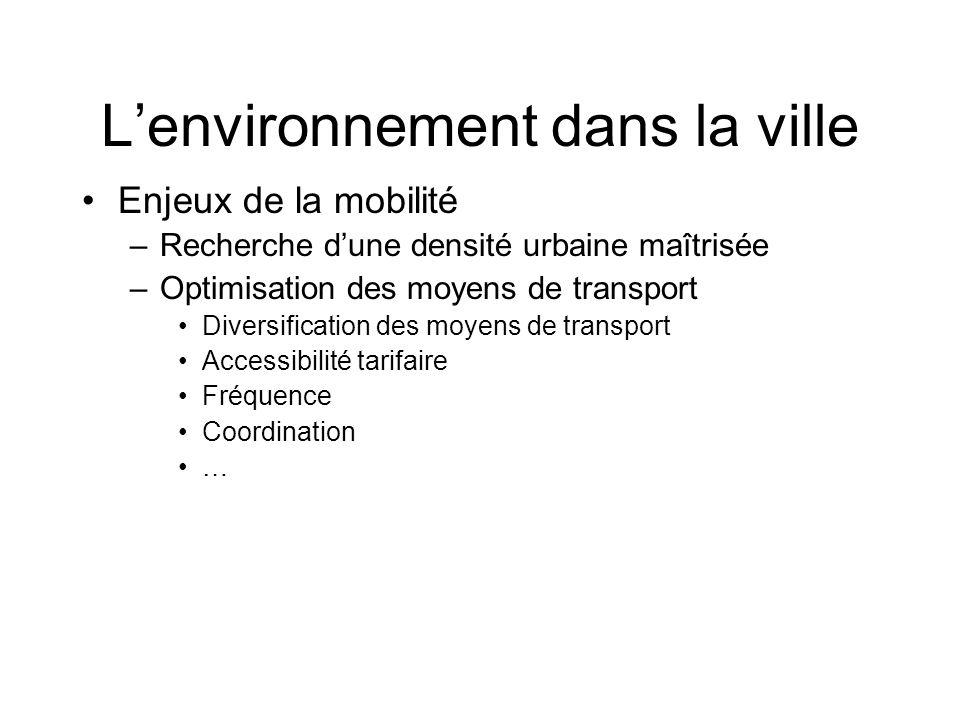 Enjeux de la mobilité –Recherche dune densité urbaine maîtrisée –Optimisation des moyens de transport Diversification des moyens de transport Accessibilité tarifaire Fréquence Coordination … Lenvironnement dans la ville