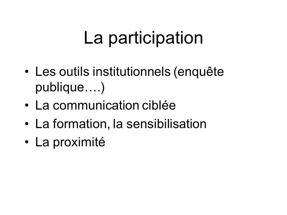 Les outils institutionnels (enquête publique….) La communication ciblée La formation, la sensibilisation La proximité La participation