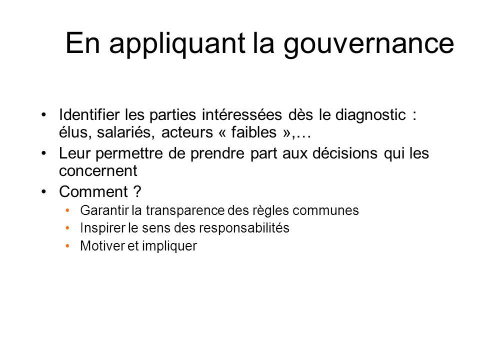 En appliquant la gouvernance Identifier les parties intéressées dès le diagnostic : élus, salariés, acteurs « faibles »,… Leur permettre de prendre part aux décisions qui les concernent Comment .