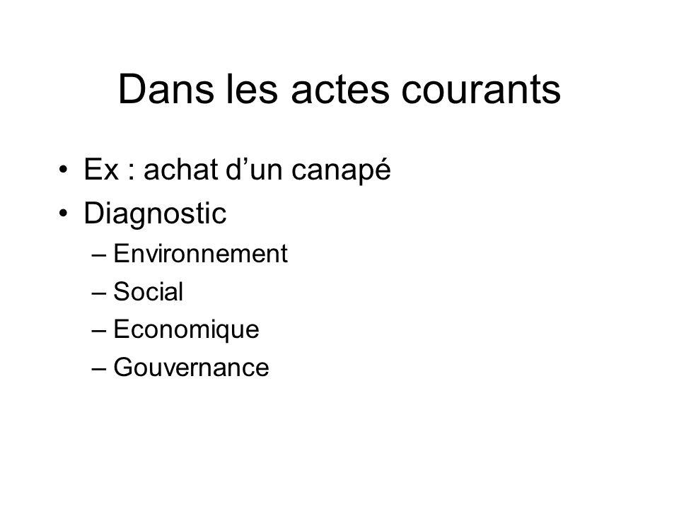 Dans les actes courants Ex : achat dun canapé Diagnostic –Environnement –Social –Economique –Gouvernance