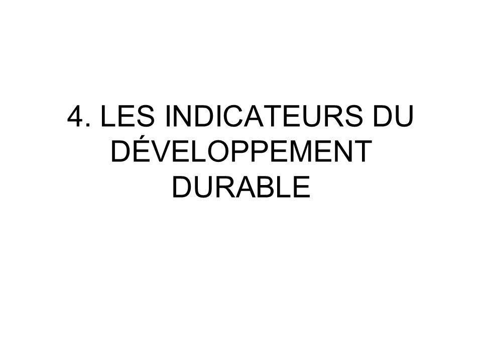 4. LES INDICATEURS DU DÉVELOPPEMENT DURABLE