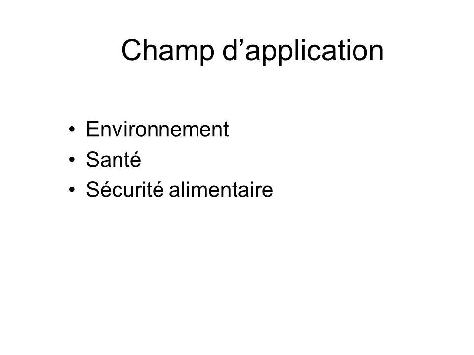 Champ dapplication Environnement Santé Sécurité alimentaire