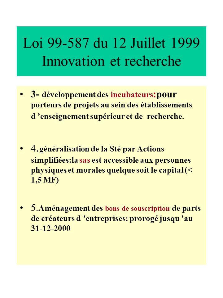 Loi 99-587 du 12 Juillet 1999 Innovation et recherche 3- développement des incubateurs :pour porteurs de projets au sein des établissements d enseigne
