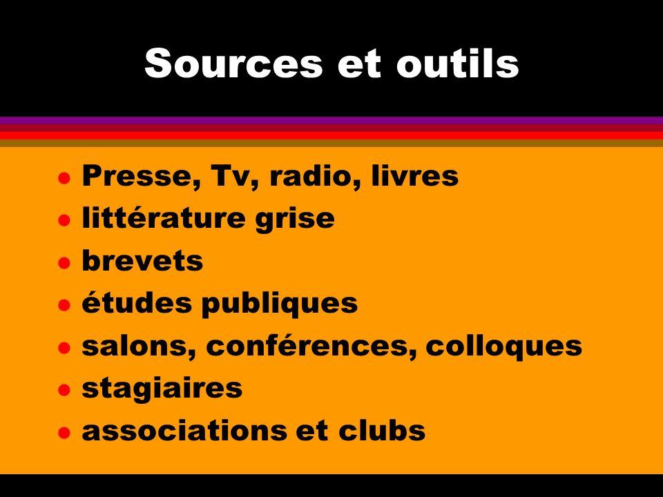 Sources et outils l Presse, Tv, radio, livres l littérature grise l brevets l études publiques l salons, conférences, colloques l stagiaires l associa