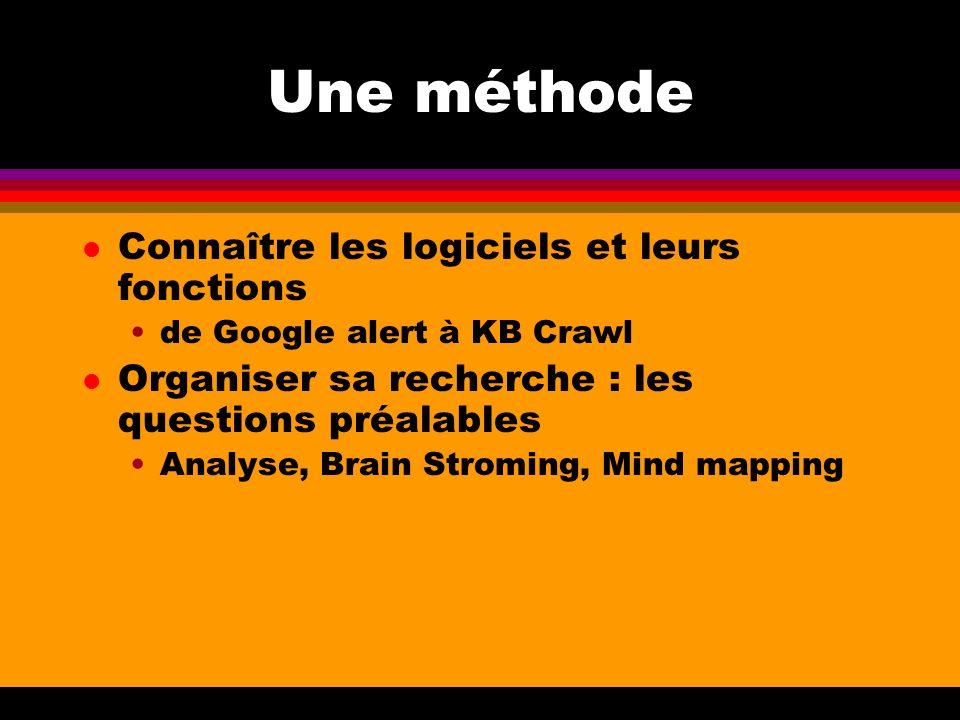Une méthode l Connaître les logiciels et leurs fonctions de Google alert à KB Crawl l Organiser sa recherche : les questions préalables Analyse, Brain