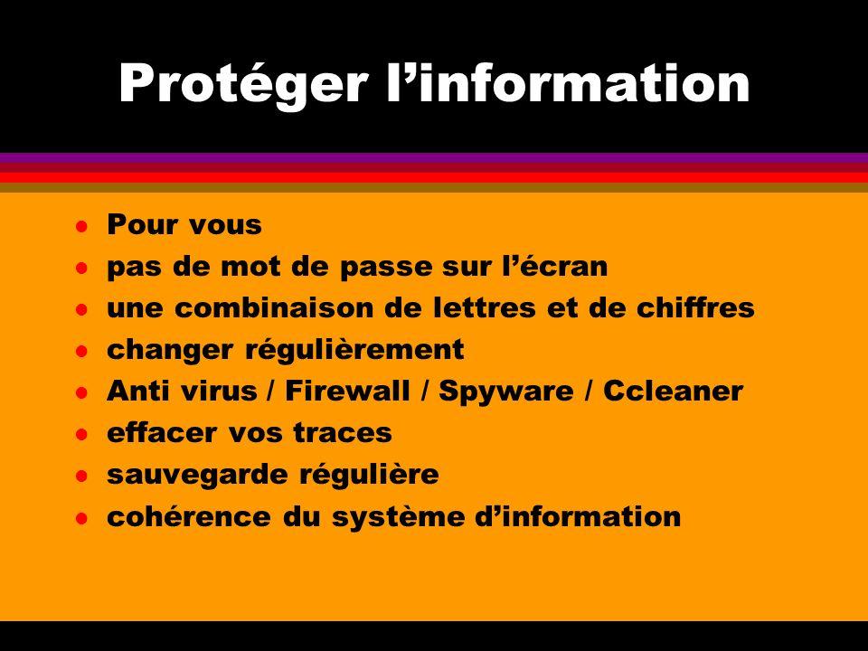Protéger linformation l Pour vous l pas de mot de passe sur lécran l une combinaison de lettres et de chiffres l changer régulièrement l Anti virus /