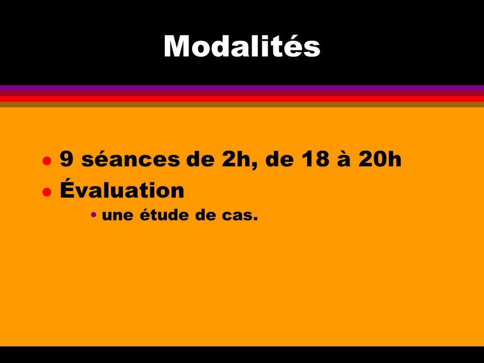 Modalités l 9 séances de 2h, de 18 à 20h l Évaluation une étude de cas.