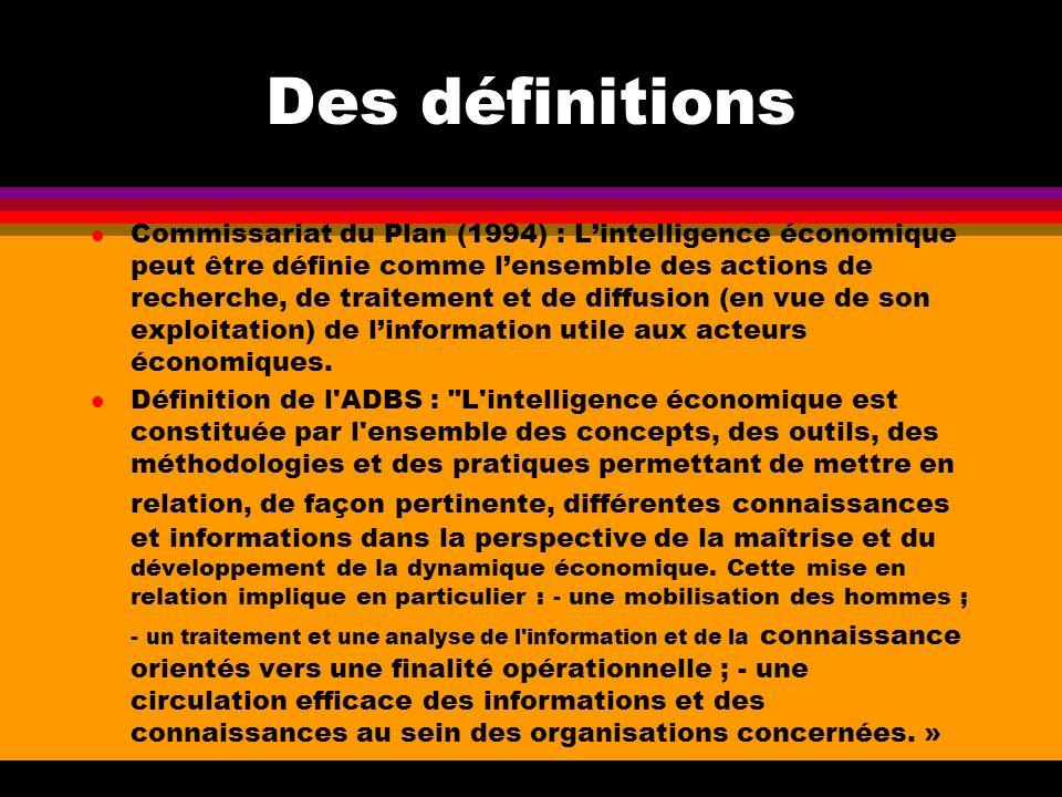 Des définitions l Commissariat du Plan (1994) : Lintelligence économique peut être définie comme lensemble des actions de recherche, de traitement et