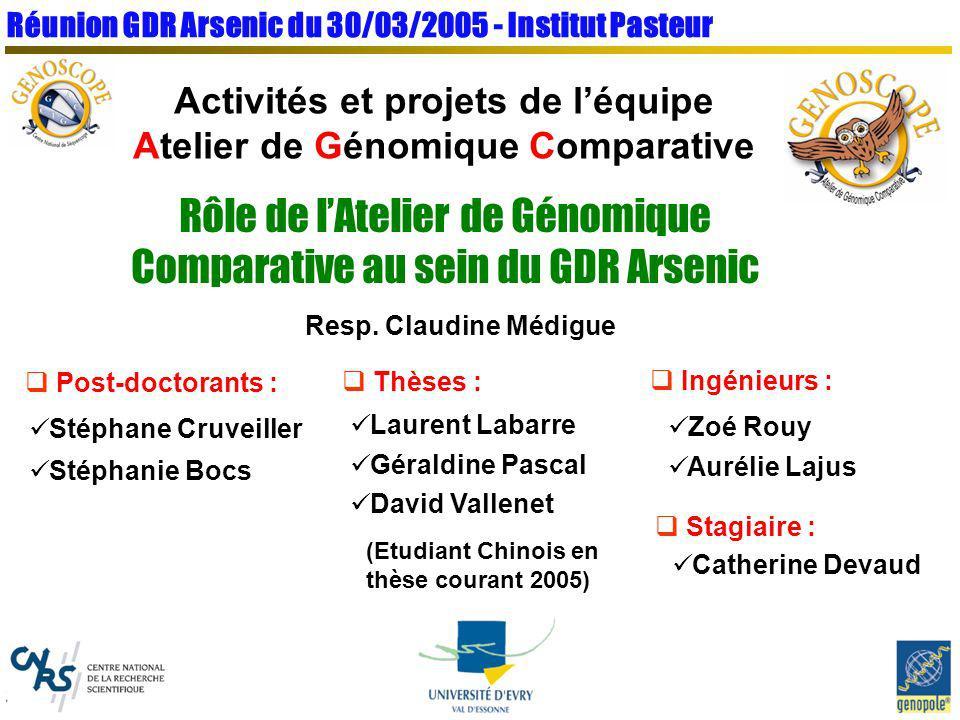 Réunion GDR Arsenic du 30/03/2005 - Institut Pasteur Activités et projets de léquipe Atelier de Génomique Comparative Rôle de lAtelier de Génomique Co