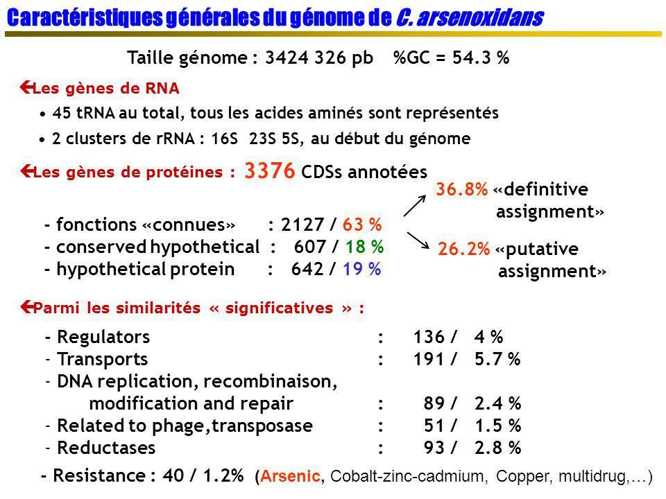 Taille génome : 3424 326 pb%GC = 54.3 % Les gènes de RNA 45 tRNA au total, tous les acides aminés sont représentés 2 clusters de rRNA : 16S 23S 5S, au