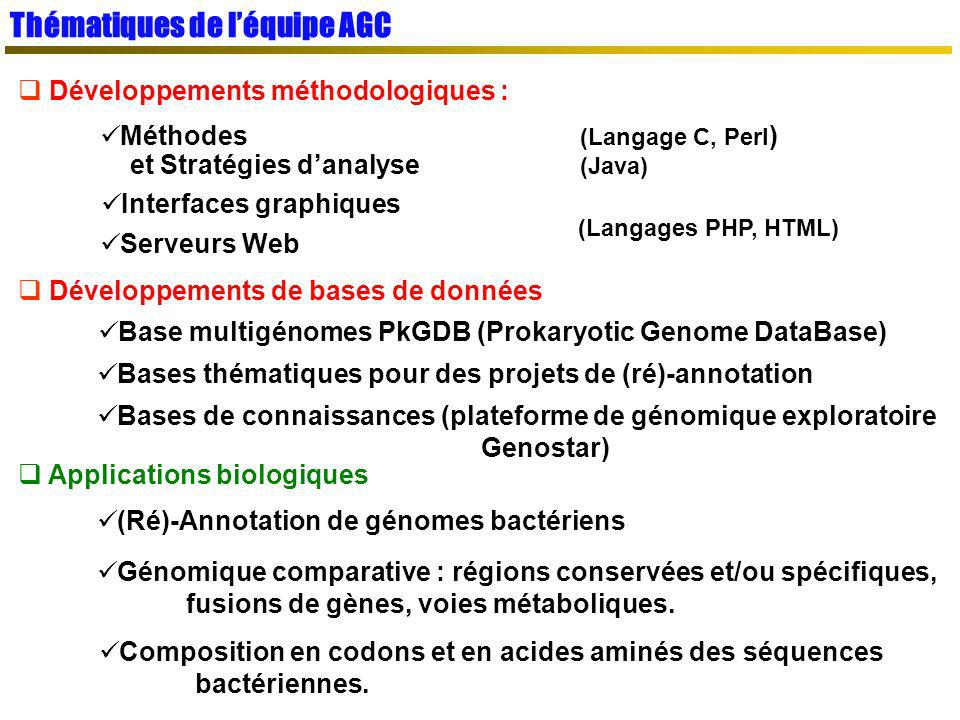 SGBD relationnel (MySQL) SGBD relationnel (MySQL) PkGDB : Procaryotic Genome DataBase Objectif : données dannotation propres, cohérentes, à la source des méthodologies de génomique comparative Résultats danalyses : Résultats danalyses : Intrinsèques : gènes, signaux, répétitions,… Génomes nouveaux (projets dannotation) Génomes nouveaux (projets dannotation) Extrinsèques : Blast, InterPro, COG, synténies … Génomes complets (Refseq NCBI) Génomes complets (Refseq NCBI) Ré-annotation syntaxique Intégration dans PkGDB Gestion des frameshifts Homogénéité des données Complétion /correction des données