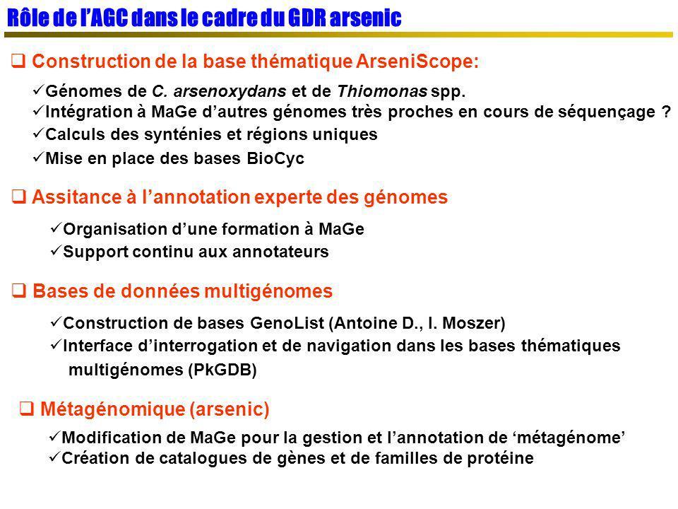 Rôle de lAGC dans le cadre du GDR arsenic Construction de la base thématique ArseniScope: Génomes de C. arsenoxydans et de Thiomonas spp. Intégration