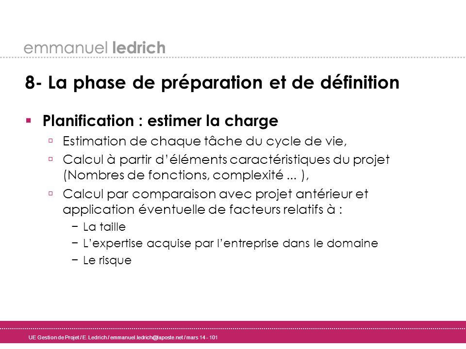 UE Gestion de Projet / E. Ledrich / emmanuel.ledrich@laposte.net / mars 14 - 101 8- La phase de préparation et de définition Planification : estimer l
