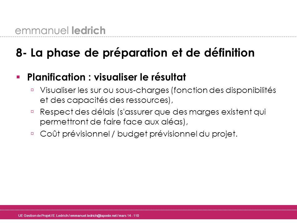 UE Gestion de Projet / E. Ledrich / emmanuel.ledrich@laposte.net / mars 14 - 110 8- La phase de préparation et de définition Planification : visualise