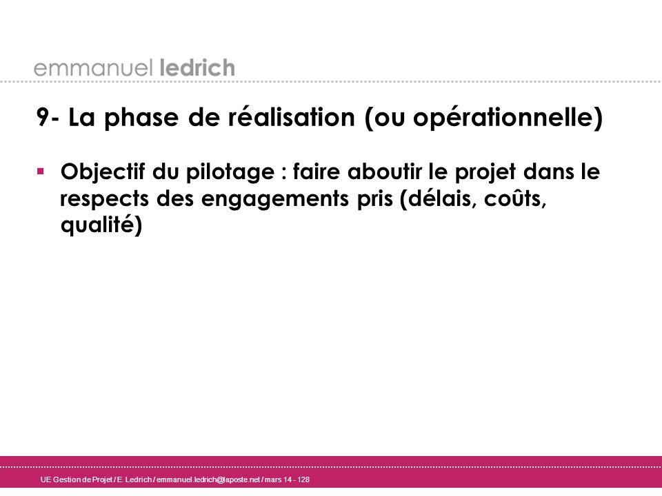 UE Gestion de Projet / E. Ledrich / emmanuel.ledrich@laposte.net / mars 14 - 128 9- La phase de réalisation (ou opérationnelle) Objectif du pilotage :
