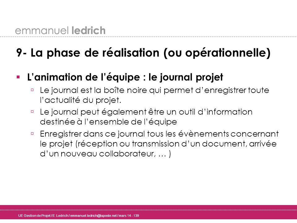 UE Gestion de Projet / E. Ledrich / emmanuel.ledrich@laposte.net / mars 14 - 139 9- La phase de réalisation (ou opérationnelle) Lanimation de léquipe