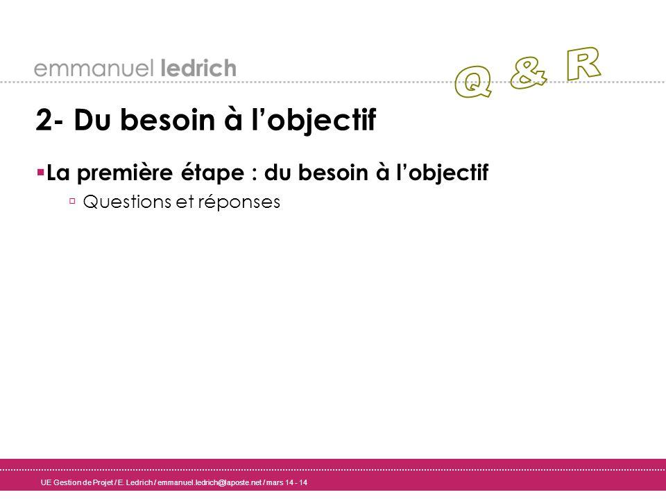 UE Gestion de Projet / E. Ledrich / emmanuel.ledrich@laposte.net / mars 14 - 14 2- Du besoin à lobjectif La première étape : du besoin à lobjectif Que