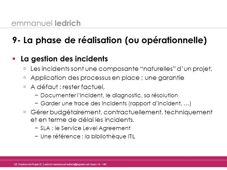 UE Gestion de Projet / E. Ledrich / emmanuel.ledrich@laposte.net / mars 14 - 140 9- La phase de réalisation (ou opérationnelle) La gestion des inciden