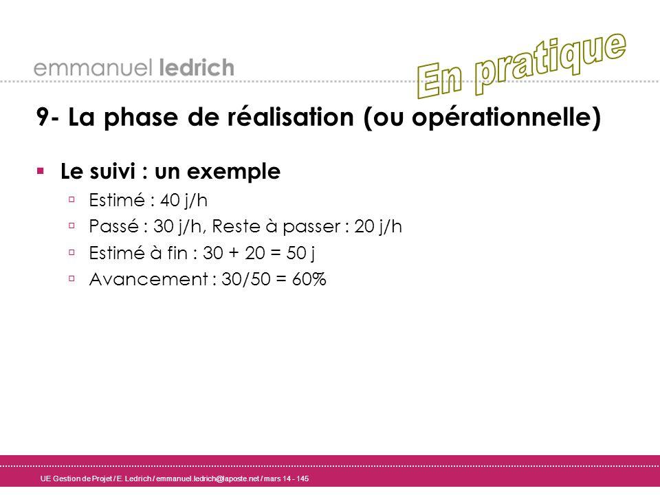 UE Gestion de Projet / E. Ledrich / emmanuel.ledrich@laposte.net / mars 14 - 145 9- La phase de réalisation (ou opérationnelle) Le suivi : un exemple