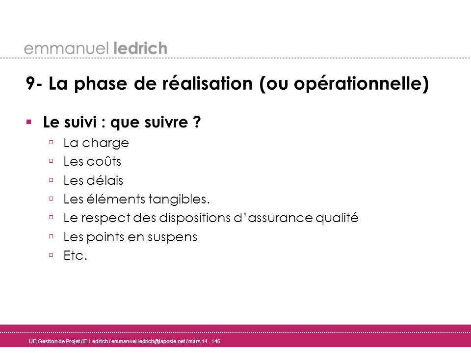 UE Gestion de Projet / E. Ledrich / emmanuel.ledrich@laposte.net / mars 14 - 146 9- La phase de réalisation (ou opérationnelle) Le suivi : que suivre