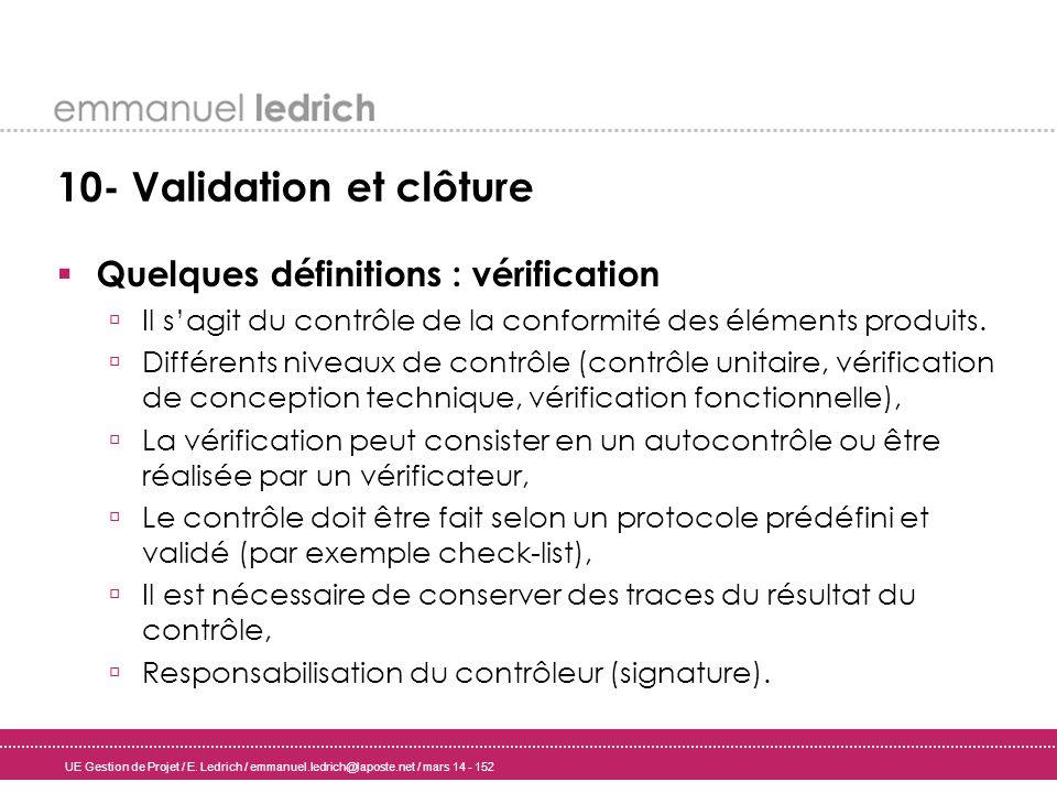 UE Gestion de Projet / E. Ledrich / emmanuel.ledrich@laposte.net / mars 14 - 152 10- Validation et clôture Quelques définitions : vérification Il sagi