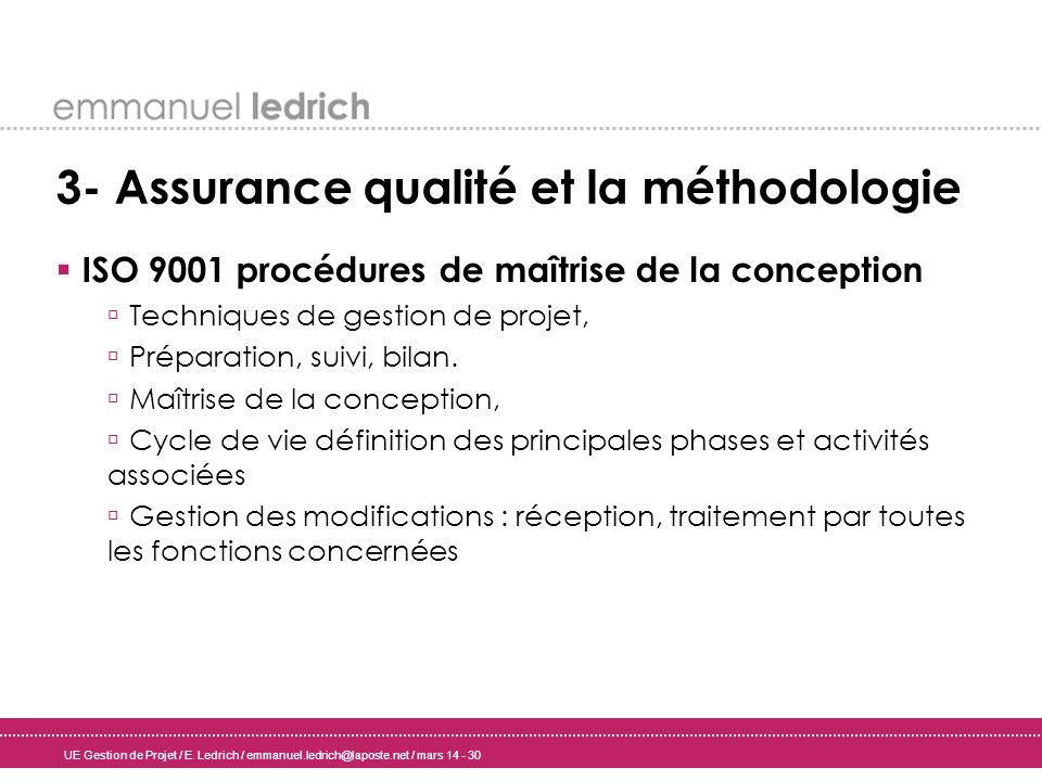 UE Gestion de Projet / E. Ledrich / emmanuel.ledrich@laposte.net / mars 14 - 30 3- Assurance qualité et la méthodologie ISO 9001 procédures de maîtris