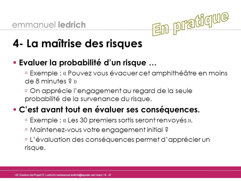 UE Gestion de Projet / E. Ledrich / emmanuel.ledrich@laposte.net / mars 14 - 37 4- La maîtrise des risques Evaluer la probabilité dun risque … Exemple