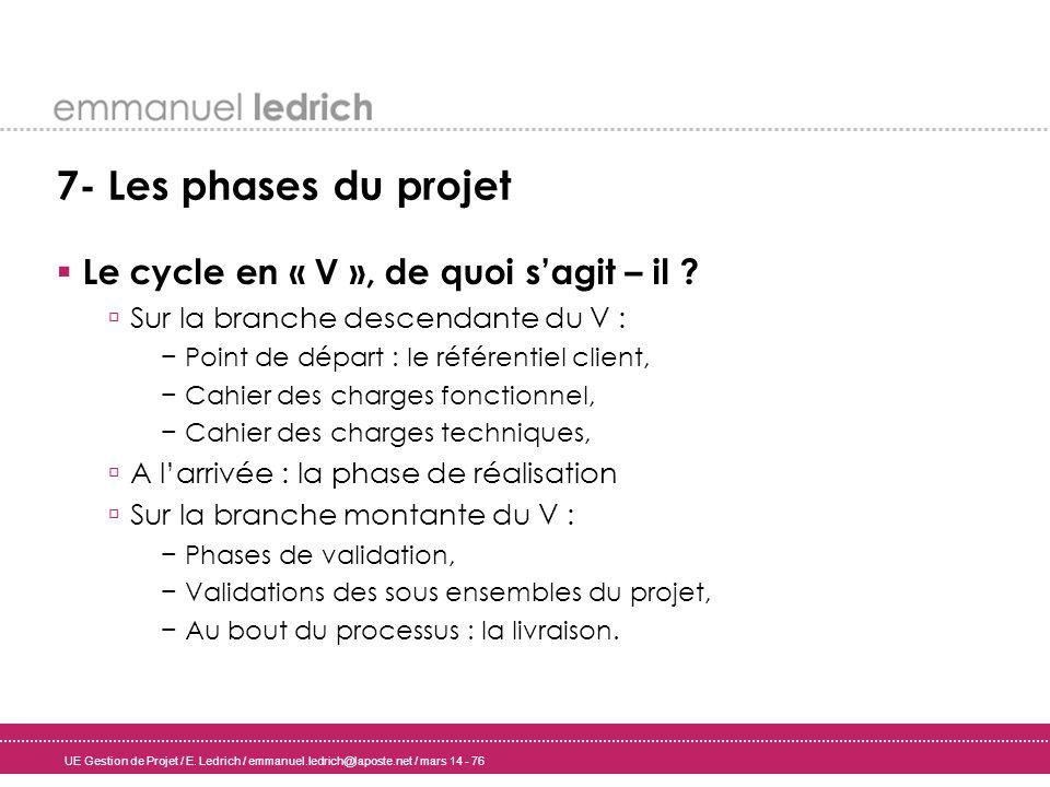 UE Gestion de Projet / E. Ledrich / emmanuel.ledrich@laposte.net / mars 14 - 76 7- Les phases du projet Le cycle en « V », de quoi sagit – il ? Sur la