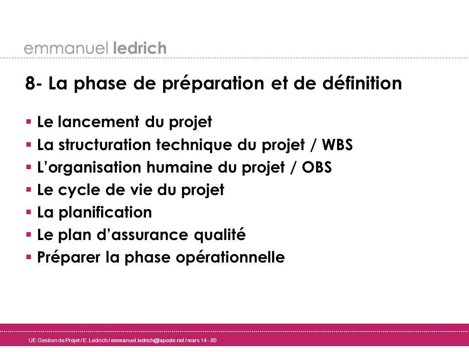 UE Gestion de Projet / E. Ledrich / emmanuel.ledrich@laposte.net / mars 14 - 80 8- La phase de préparation et de définition Le lancement du projet La
