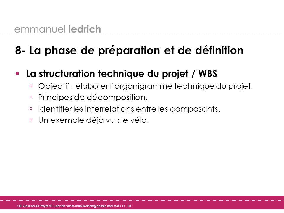 UE Gestion de Projet / E. Ledrich / emmanuel.ledrich@laposte.net / mars 14 - 88 8- La phase de préparation et de définition La structuration technique