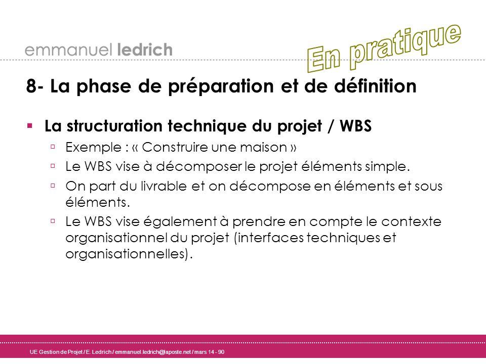 UE Gestion de Projet / E. Ledrich / emmanuel.ledrich@laposte.net / mars 14 - 90 8- La phase de préparation et de définition La structuration technique
