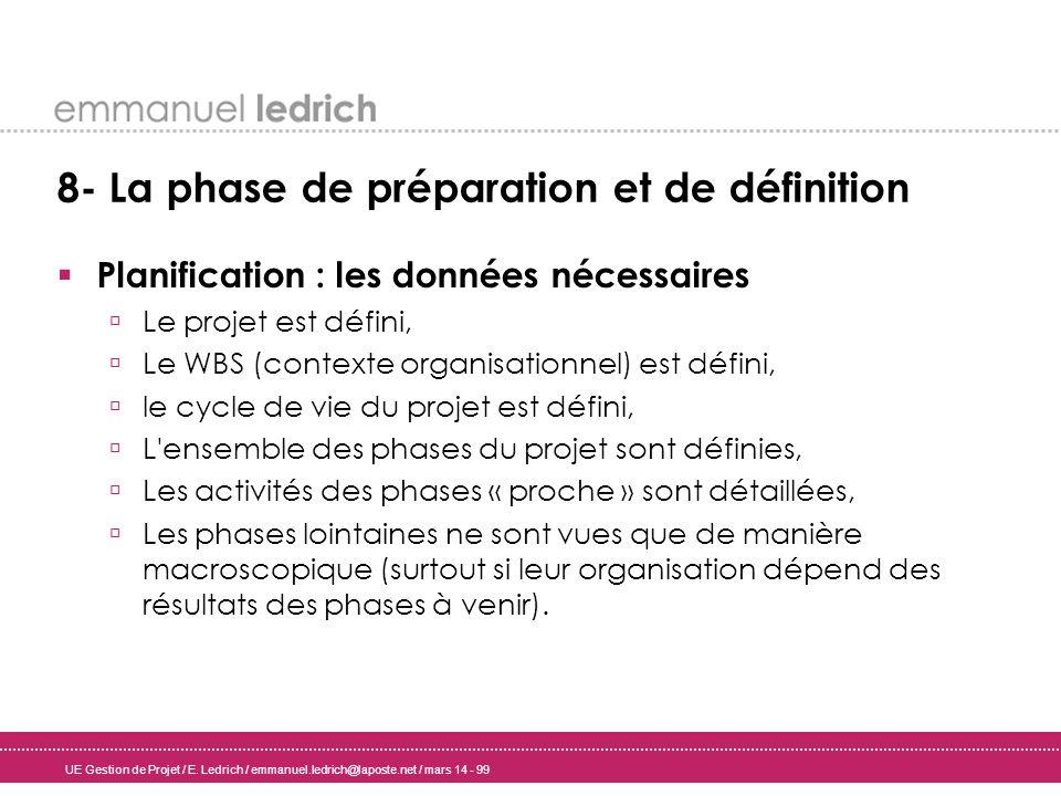 UE Gestion de Projet / E. Ledrich / emmanuel.ledrich@laposte.net / mars 14 - 99 8- La phase de préparation et de définition Planification : les donnée