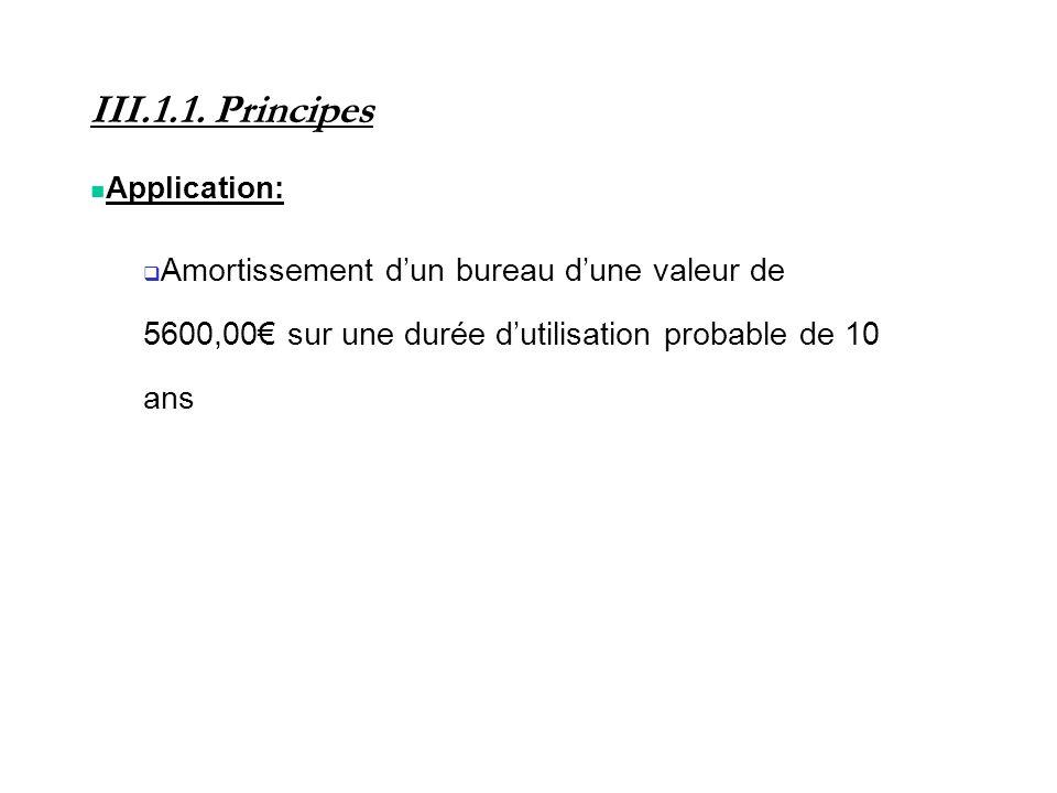 III.1.1. Principes Application: Amortissement dun bureau dune valeur de 5600,00 sur une durée dutilisation probable de 10 ans