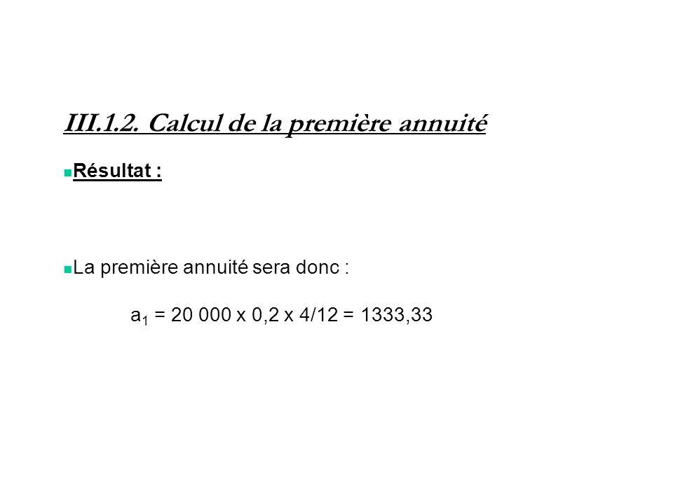 III.1.2. Calcul de la première annuité Résultat : La première annuité sera donc : a 1 = 20 000 x 0,2 x 4/12 = 1333,33