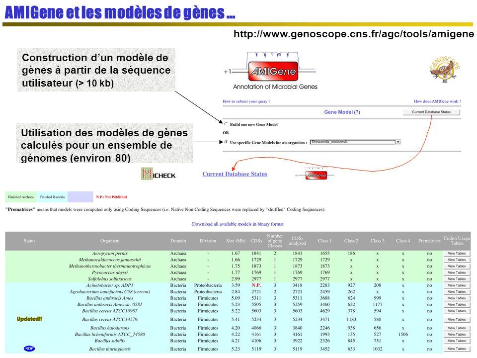 AMIGene et les modèles de gènes … http://www.genoscope.cns.fr/agc/tools/amigene Construction dun modèle de gènes à partir de la séquence utilisateur (> 10 kb) Utilisation des modèles de gènes calculés pour un ensemble de génomes (environ 80)