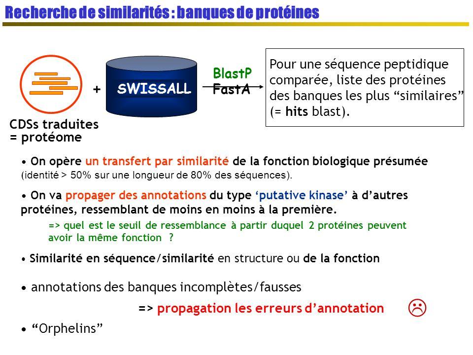 SWISSALL CDSs traduites = protéome + BlastP FastA Pour une séquence peptidique comparée, liste des protéines des banques les plus similaires (= hits blast).