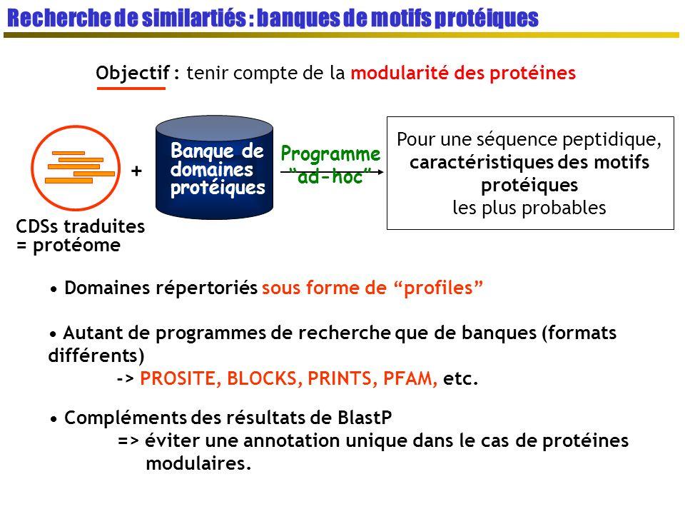 Objectif : tenir compte de la modularité des protéines Banque de domaines protéiques CDSs traduites = protéome + Programme ad-hoc Pour une séquence peptidique, caractéristiques des motifs protéiques les plus probables Domaines répertoriés sous forme de profiles Autant de programmes de recherche que de banques (formats différents) -> PROSITE, BLOCKS, PRINTS, PFAM, etc.