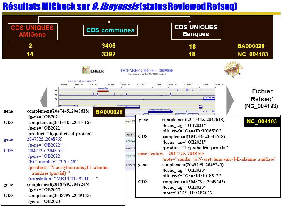Résultats MICheck sur O.