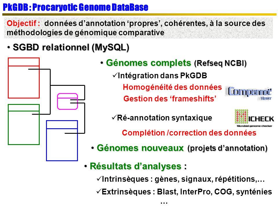 SGBD relationnel (MySQL) SGBD relationnel (MySQL) PkGDB : Procaryotic Genome DataBase Objectif : données dannotation propres, cohérentes, à la source des méthodologies de génomique comparative Génomes complets (Refseq NCBI) Génomes complets (Refseq NCBI) Intégration dans PkGDB Gestion des frameshifts Homogénéité des données Ré-annotation syntaxique Complétion /correction des données Résultats danalyses : Résultats danalyses : Intrinsèques : gènes, signaux, répétitions,… Génomes nouveaux (projets dannotation) Génomes nouveaux (projets dannotation) Extrinsèques : Blast, InterPro, COG, synténies …