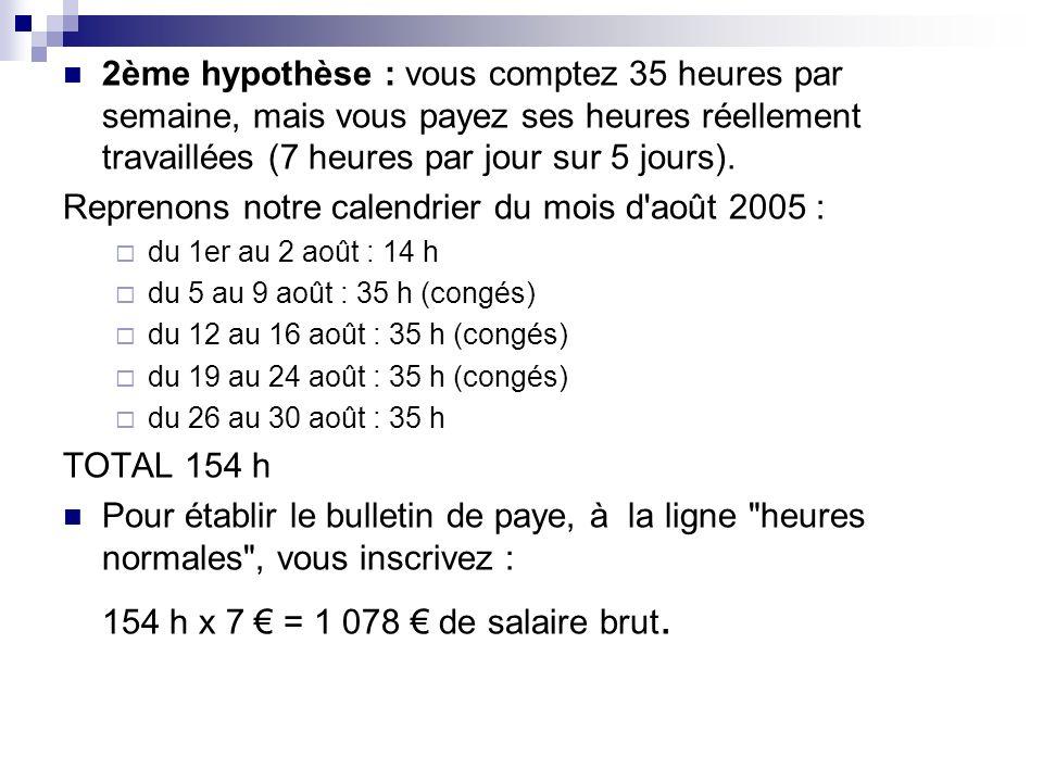 2ème hypothèse : vous comptez 35 heures par semaine, mais vous payez ses heures réellement travaillées (7 heures par jour sur 5 jours). Reprenons notr
